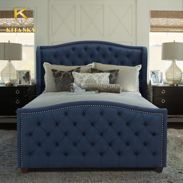 Giường ngủ bọc đệm màu xanh lam đầy cuốn hút