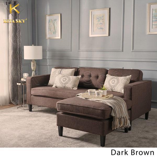 Bàn ghế sofa phòng khách chung cư màu nâu ấm cúng Dark Grown Aboli