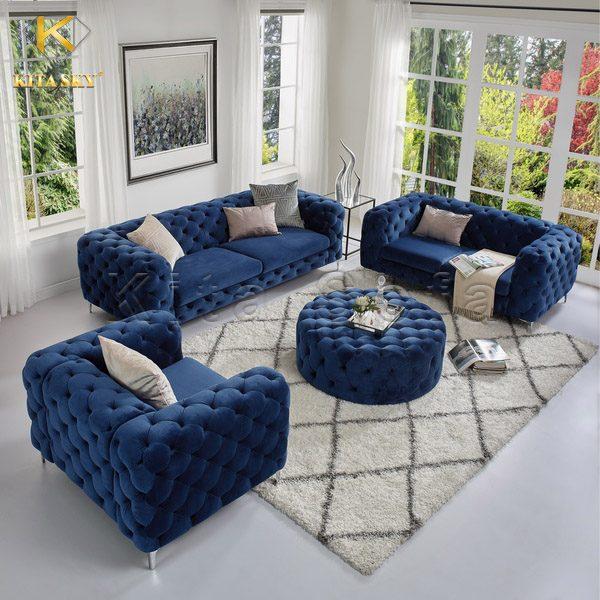 Bộ sofa phòng khách cao cấp Adele với màu xanh hoàng gia giúp ngôi nhà bạn thêm đẳng cấp