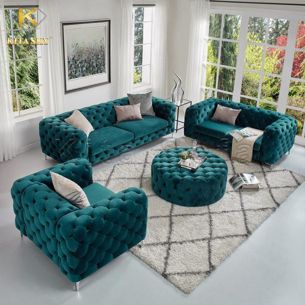 Bộ ghế sofa tân cổ điển phòng khách được tạo nên từ những đôi tay người thợ khéo léo.