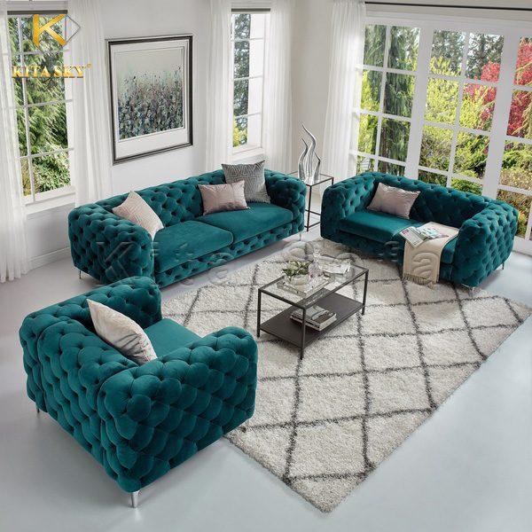 Bộ sofa phòng khách hiện đại với gam màu xanh mòng két tinh tế. Đây là gam màu pha trộn giữa xanh nước biển và xanh lá. Nó đem lại cảm giác tươi mới. Sử dụng vải nhung nỉ để bọc ngoài đúng là bộ đôi hoàn hảo. Đây cũng là gam màu lên ngôi trong những năm 2014, 2015 và dự đoán sẽ hot lại trong thời gian tới.