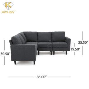 Kích thước ghế sofa nỉ phòng khách Andrea với 4 đệm ngồi