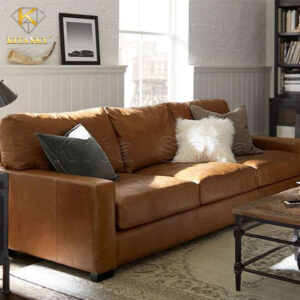 mẫu ghế sofa da phòng khách màu nâu ánh cam