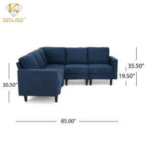 1 inch bằng 2,54 cm. Nếu tính ra thì mẫu ghế sofa nỉ cho phòng khách Andrea có chiều dài là 2,2m phủ bì