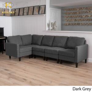 Bộ sofa bọc nỉ phòng khách màu xám đậm.