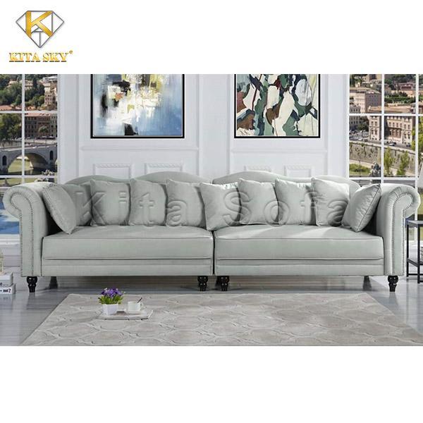Ghế sofa phòng khách cổ điển màu xám sang trọng