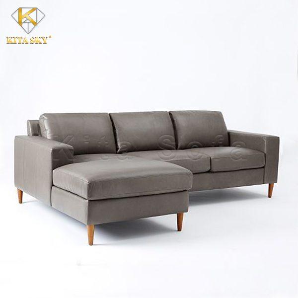 sofa da phòng khách màu xám nhạt