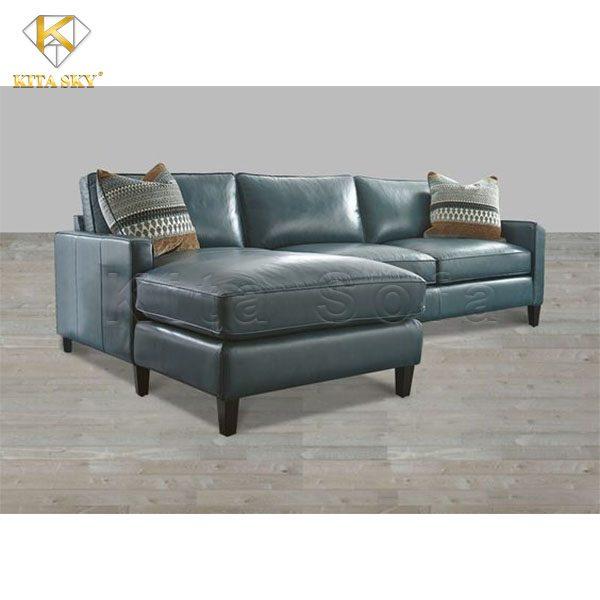 sofa da phòng khách màu xanh trời pha xám