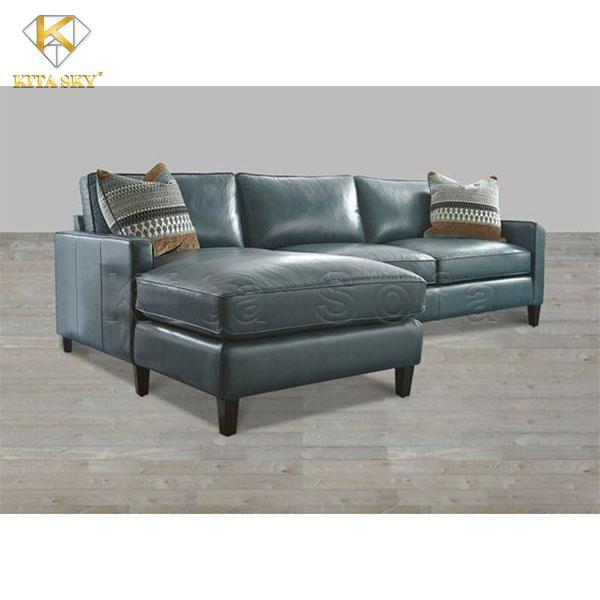 Mẫu ghế da cho phòng khách màu xanh lam Dusky Blue nhẹ nhàng và tinh tế.