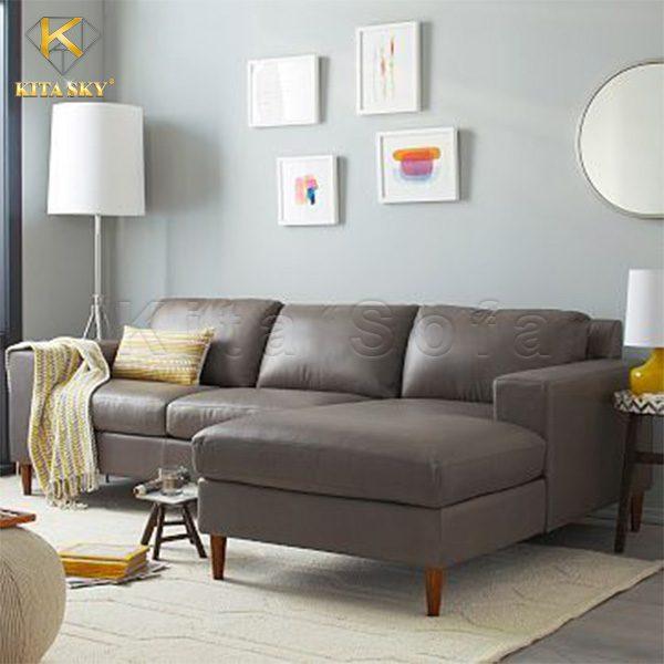 sofa da phòng khách màu xám hiện đại