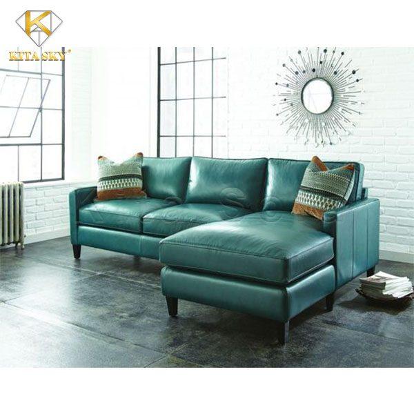sofa da cho phòng khách màu xanh ngọc