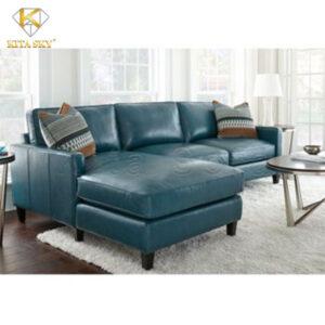 mẫu sofa da cho phòng khách màu xanh lam