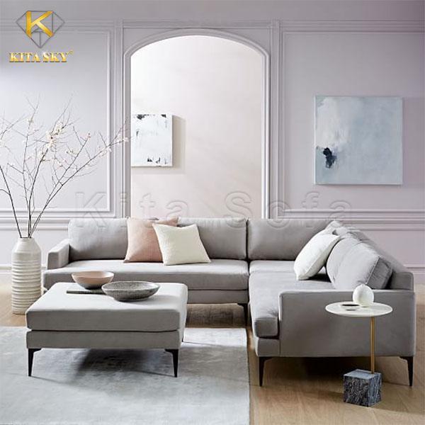 Mẫu ghế sofa góc cho phòng khách nhỏ màu xám là mẫu ghế bán chạy nhất tại Kita.
