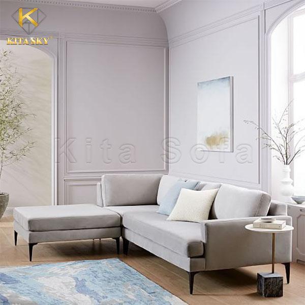 Mẫu ghế sofa góc đẹp cho phòng khách nhỏ rất dễ phối với hầu hết màu tường nhà ở ngày nay