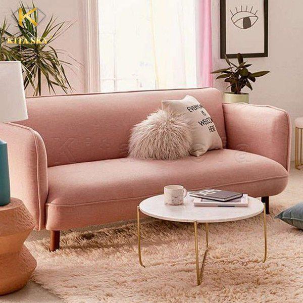 Sofa mini phòng khách giá rẻ màu hồng cam cực ngọt ngào