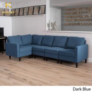 Sofa nỉ hiện đại phòng khách màu xanh đen thanh lịch.