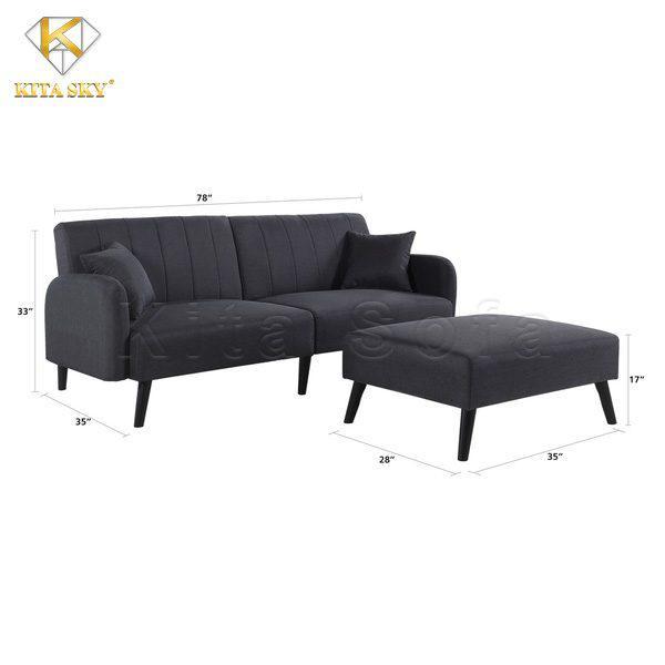 Kích thước sofa phòng khách thông minh (ghế xám đen)