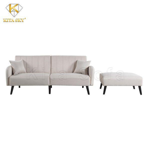 Ghế sofa thông minh màu trắng với chất liệu vải nhung cao cấp.