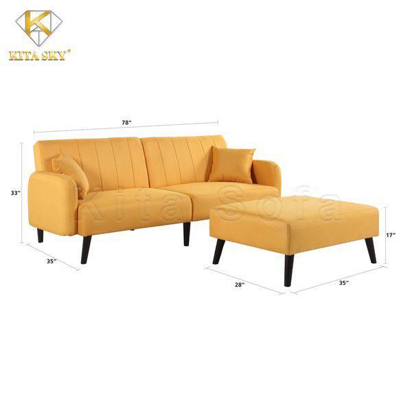 Kích thước bộ sofa giường thông minh màu vàng