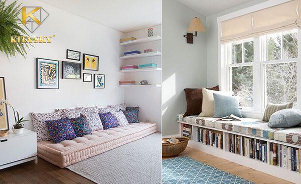 Phòng khách không dùng sofa hãy sử dụng nệm ghế có dáng ghế giống sofa