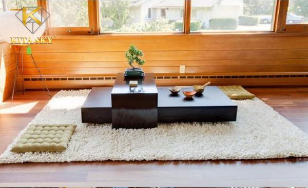 Phòng khách không sofa với lối thiết kế tối giản theo kiểu người Nhật