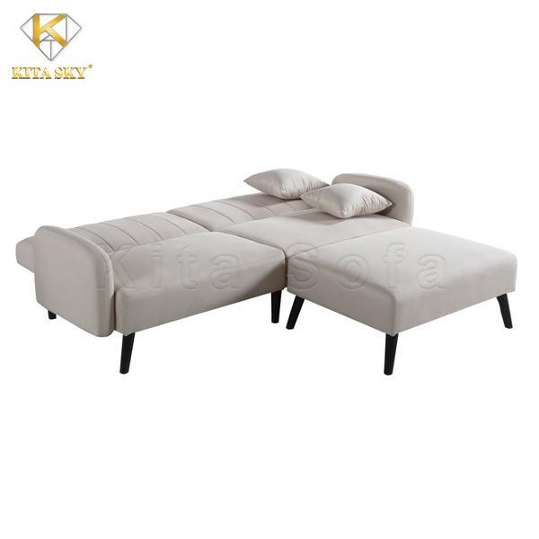 Sofa thông minh kết hợp giường nằm với màu trắng tinh tế, sang trọng.