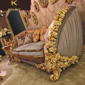 Những mẫu bàn ghế gỗ phòng khách tân cổ điển dát vàng như thể hiện gu thẩm mỹ cao cấp của gia chủ