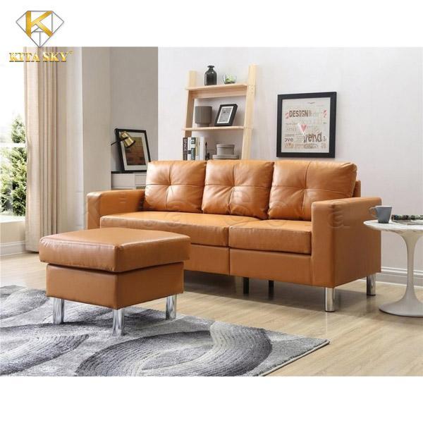 Một bộ bàn ghế sofa mini nhỏ gọn chữ L giúp căn phòng ấm cúng và tiện nghi hơn