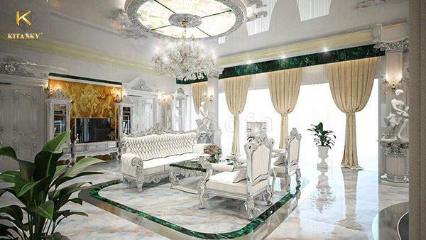 Bản thiết kế nội thất biệt thự cao cấp từ Kita theo màu sắc và chất liệu khách hàng yêu cầu.