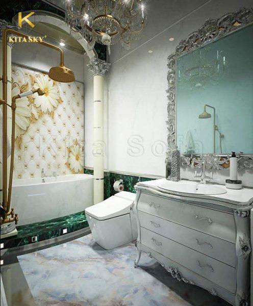 Bản vẽ thiết kế nội thất biệt thự cho nhà tắm cũng cần đi theo chủ đề. Từ gạch, vòi sen, bồn tắm đều cần đồng nhất với thiết kế thật tao nhã.