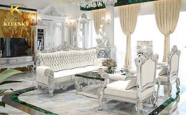 Mẫu phòng khách lần này với phong cách thiết kế nội thất biệt đẹp mắt. Nó là sự hòa trộn giữa các đường nét hiện đại và nhấn nhá thêm chút vẻ cổ điển ở bộ sofa cao cấp.