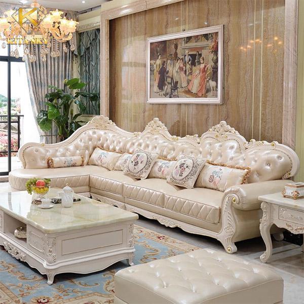 Bàn ghế sofa góc nhập khẩu Amber với thiết kế tinh xảo và quyền quý