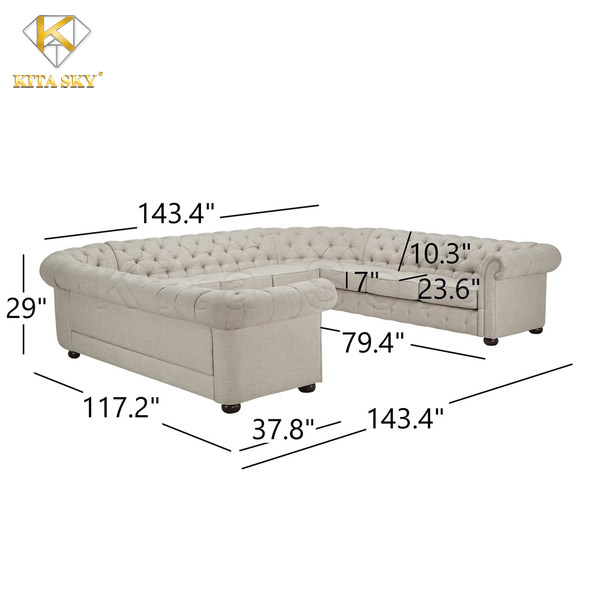 Kích thước sofa chữ U Sonia