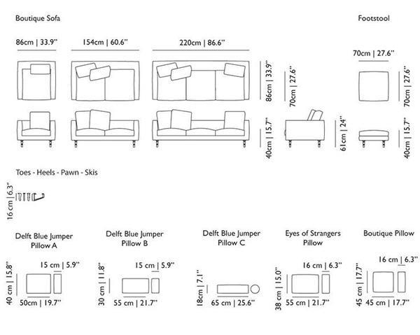 Kích thước sofa tiêu chuẩn của một số loại sofa thông dụng hiện có trên thị trường