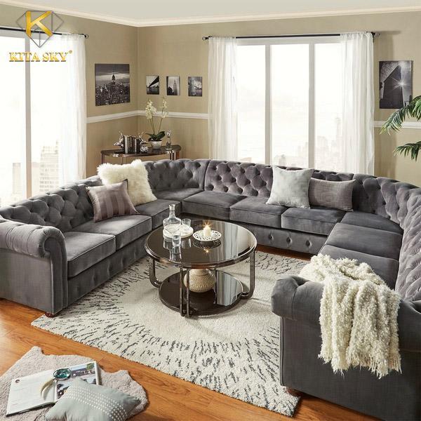 Tham khảo mẫu sofa chữ U Sonia màu xám nhung quý tộc