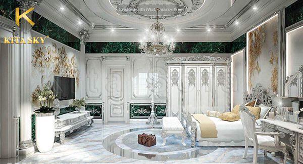 Màu sắc chính điểm tô cho không gian phòng ngủ vẫn là trắng. Phòng ngủ số 1 vẫn sử dụng đá marble vân đá cẩm thạch để làm điểm nhấn.