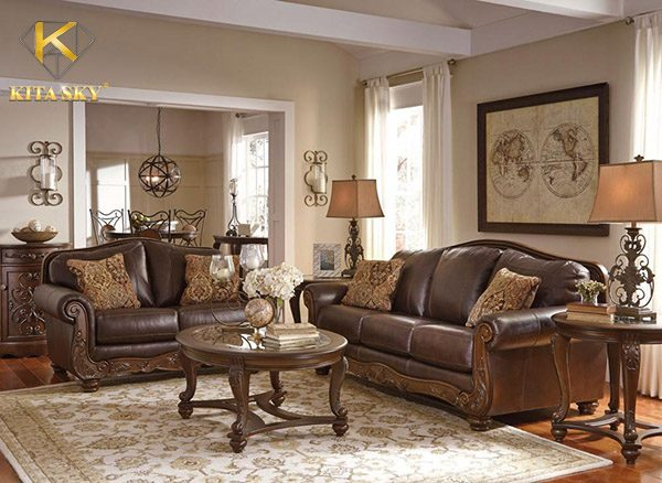 Dùng sofa da kết hợp tay gỗ là lựa chọn của nhiều khách hàng hiện nay