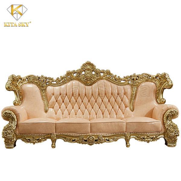 Mẫu sofa da phòng khách nhập khẩu dát vàng cao cấp