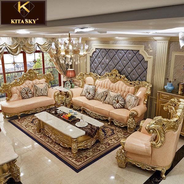Mẫu ghế sofa phòng khách nhập khẩu đẹp mắt mang phong cách tân cổ điển