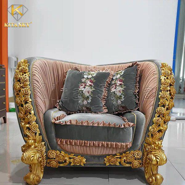 Ghế đơn một chỗ ngồi tự bộ sofa phòng khách tân cổ điển nhập khẩu Lux.