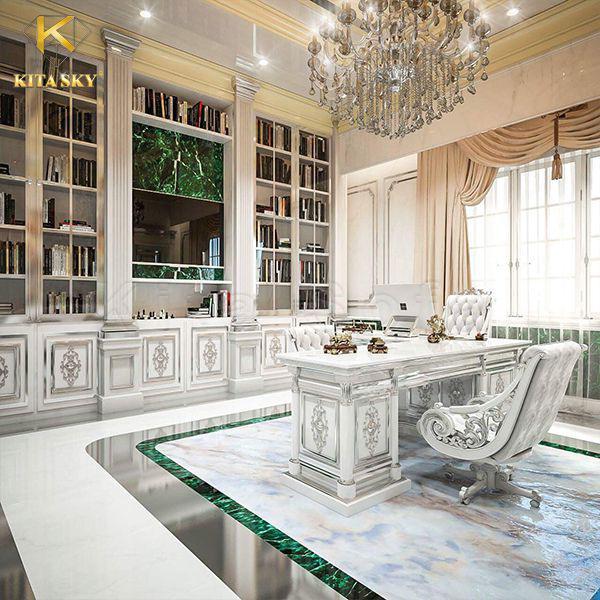 Không gian làm việc với phong cách thiết kế tinh tế sẽ bật lên vị thế của gia chủ. Gam màu trắng chủ đạo tạo nên sự tinh giản khiến người ngồi trong phòng tập trung hết mức vào công việc. Nhưng nó sẽ rất tẻ nhạt và lạnh lẽo. Thế nên Kita đã phối hợp cùng ánh đèn vàng để tạo cảm giác ấm cúng, dễ chịu hơn.