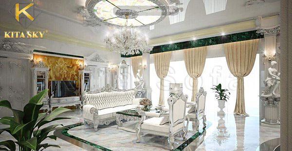 Vì khách muốn tone trắng làm chủ đạo. Nên Kita đã lựa chọn mẫu sofa nhập khẩu được bọc bằng da màu sáng. Phần khung ghế điêu khắc tinh xảo được dát bạc hoàn toàn. Mang đến vẻ đẹp vừa thanh lịch vừa kiêu sa quyền quý.