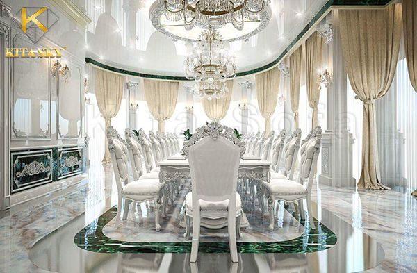 Từ phòng khách đến nhà bếp, phòng ăn cần có sự nhất quán trong lối thiết kế. Chính vì thế mà Kita đã chọn bộ bàn ghế cùng chất liệu và cùng tông màu với bộ sofa phòng khách.