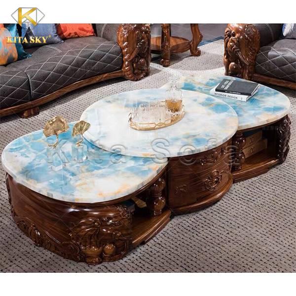 Bàn gỗ mặt đá tự nhiên cao cấp phối hợp cùng bộ ghế da là sự lựa chọn hoàn hảo