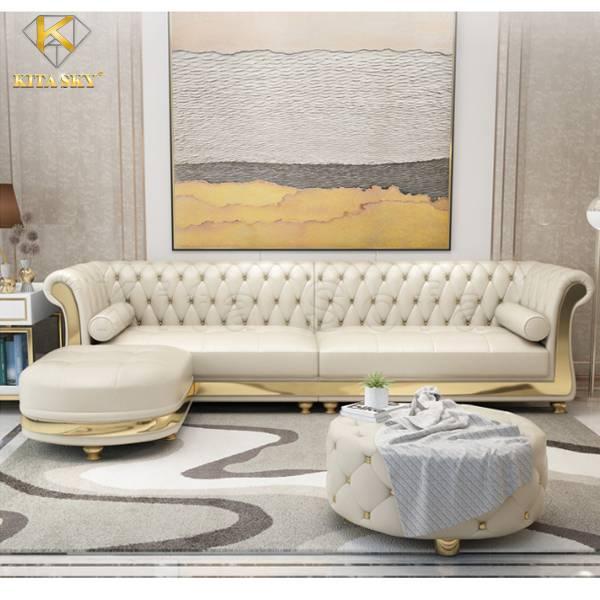 Mẫu bàn ghế sofa da sang trọng cho phòng khách nhỏ gọn với nét đẹp quyền quý