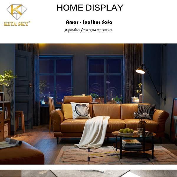 Bộ bàn ghế sofa da phòng khách Amar cho không gian ấn tượng, thu hút.