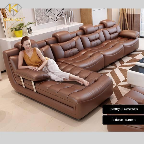 Mẫu bàn ghế sofa da da phòng khách nhiều chỗ ngồi tại Kita Sofa