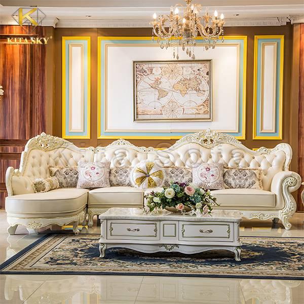 Sofa da cổ điển cao cấp kiểu châu Âu