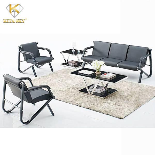 Sofa da giá rẻ chân sắt với thiết kế nhỏ gọn là lựa chọn của nhiều khách hàng hiện nay.