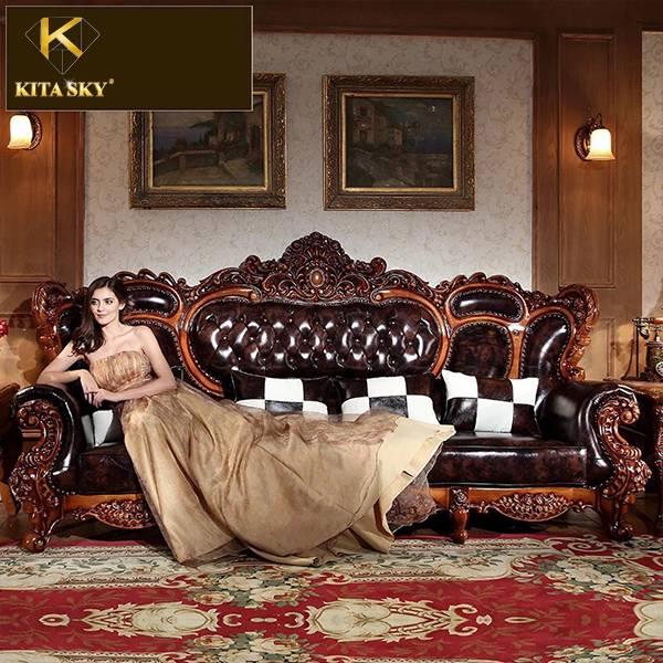 Bộ sofa da gỗ Veronica phong cách quý tộc ấn tượng